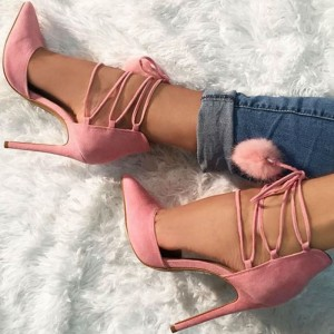 Pink Pom Pom Shoes Lace up Strappy Stiletto Heel Cute Pumps