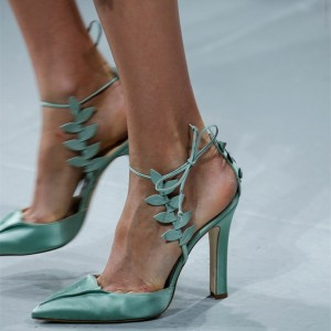 Turquoise Heels Satin Leaf Closed Toe Sandals Prom Shoes