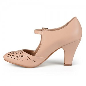 Women's Blush Cut out Round Toe Mary Jane Pumps Vintage Heels