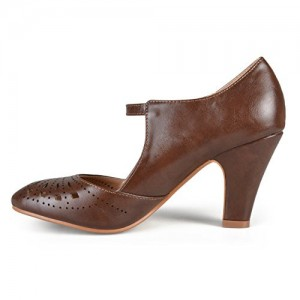 Women's Brown Cutout Mary Jane Shoes Round Toe Chunky Heels Vintage Shoes