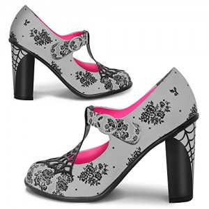 Women's Grey Spider Web Mary Jane Pumps Vintage Heels