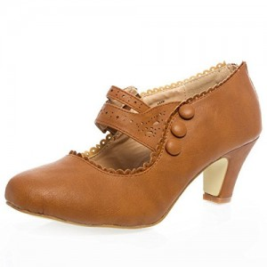 Tan Vintage Heels Closed Toe Chunky Heel Retro Shoes