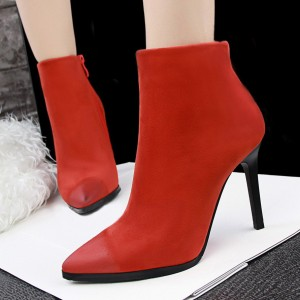 Women's Orange Stiletto Heels Ankle Boots Pointed Toe Vintage Boots