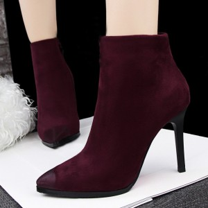 Burgundy Stiletto Boots Pointy Toe Suede Vintage Ankle Booties