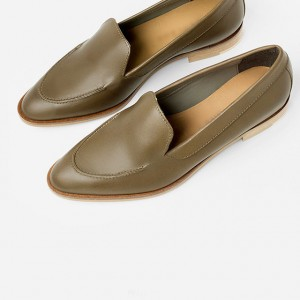 Brown Vintage Pointy Toe Flat Loafers for Women US Size 3-15