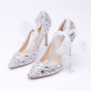 Women's Silver Gilter Crystal Strappy Stiletto Heels Wedding Shoes