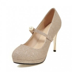Champagne Glitter Shoes Mary Jane Pumps Platform High Heels Shoes
