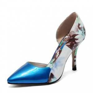 Blue Floral Heels Pointy Toe Stiletto Heels D'orsay Pumps