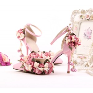 Pink Wedding Heels Ankle Strap Floral Closed Toe Sandals for Bridesmaid