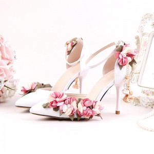 White Bridal Sandals Floral Ankle Strap Closed Toe Heels for Wedding