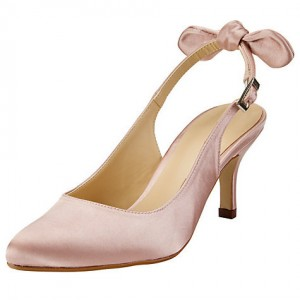 Pink Wedding Heels Slingback Kitten Heels Satin Pumps for Bridesmaid