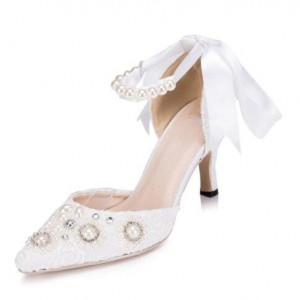 White Bridal Shoes Ankle Strap Lace Heels with Rhinestones