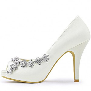 Women's White Satin Dorsay Pumps Crystal Platform Pencil Heel Bridal Heels