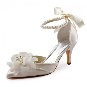 Women's White Satin Floral Back Bow Ankle Strap Bridal heels Sandals