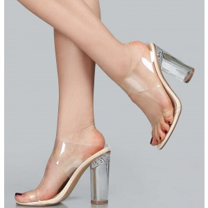 PVC Clear Sandals Transparent Open Toe Chunky Heel Mules