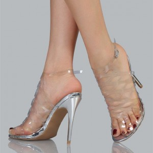 Clear Heels Silver Stiletto Heels Hollow out Sandals