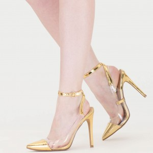 Women's Golden Clear Heels Pointy Toe Ankle Strap Stiletto Heel Pumps