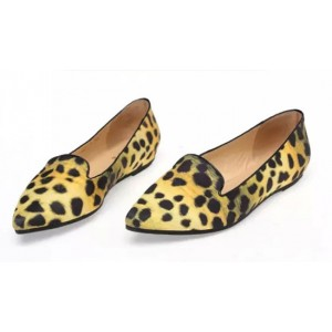 Women's Lemon Yellow Pointed Toe Leopard Print Flats