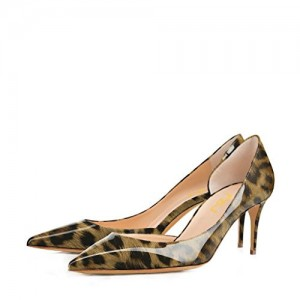 Leopard Print Heels Patent Leather Kitten Heel D'orsay Pumps