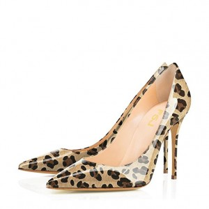 Women's Brown Patent Leather Low Cut Upper Pointy Toe Leopard Print Heels Pumps