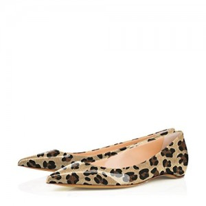 Comfortable Patent Leather Leopard Print Flats Pointy Toe Shoes