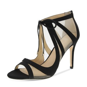 Women's Black Lace-up Hollow Out Open Toe Stiletto Heels Sandals