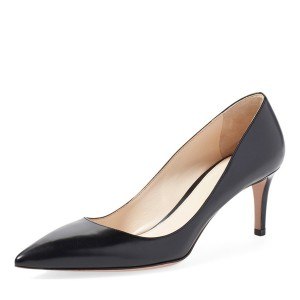 On Sale Black Commuting Low-Cut  Uppers Kitten Heels Shoes