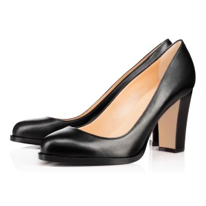 On Sale Black Basic Pumps Office Shoes Round Toe Chunky Heels by FSJ