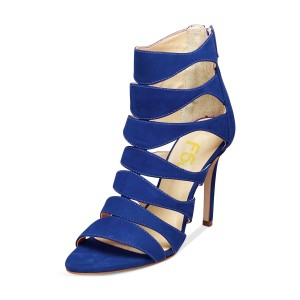 Women's Blue Suede Open Toe  Hollow-out Stiletto Heels  Sandals
