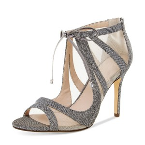 Women's Grey Dress Shoes Mesh Lace Up Heels Peep Toe Stiletto Heels Sandals