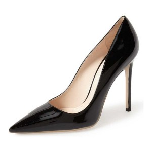 On Sale Black Office Heels Pointy Toe Stiletto Heel Dress Shoes