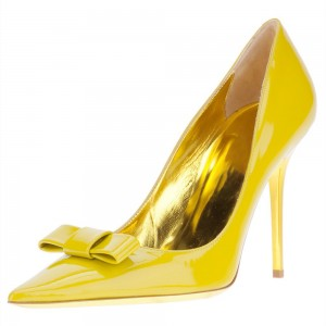 Yellow Bow Heels Pointy Toe Patent Leather Stiletto Heel Pumps