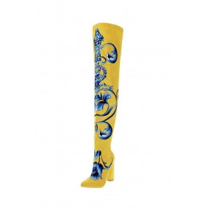 Yellow Satin Floral Chunky Heel Boots Thigh High Boots