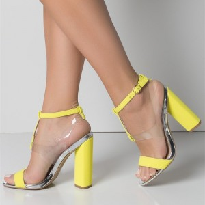 Yellow Transparent Chunky Heel Sandals Clear Heels Slingback Sandals