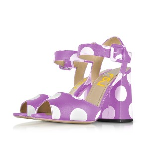 Purple Polka Dots Block Heel Sandals Peep Toe Heels