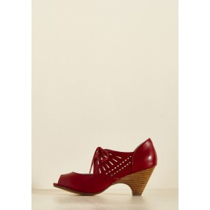 Burgundy Heels Lace up Peep Toe Laser Cut Cone Heel Vintage Shoes