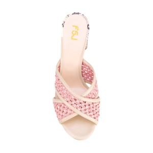 Pink Block Heel Sandals Python Knit Open Toe Mules