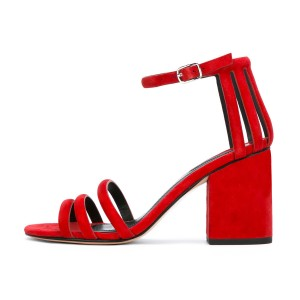 Women's Red Chunky Heel Ankle Strap Sandals