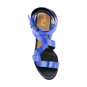 FSJ Blue Strappy Sandals Open Toe Block Heel Vegan Shoes US Size 3-15
