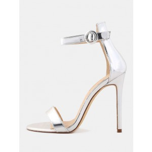 Women's 4 Inch Heels Silver Ankle Strap Sandals Fashion Stiletto Heels
