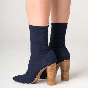 Elastic Navy Blue Boots Pointy Toe Sock Boots Cylindrical Heeled Boots