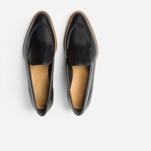 Black Vintage Pointy Toe Comfy Flat Loafers for Women US Size 3-15