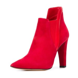 Women's Red Commuting Suede Pointed Toe Chunky Heel Boots