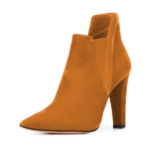 Women's Yellow Suede Commuting Pointed Toe Chunky Heel Boots