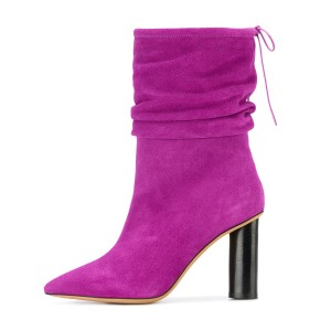 Fuchsia Slouch Boots Suede Pointy Toe Block Heel Mid-calf Boots