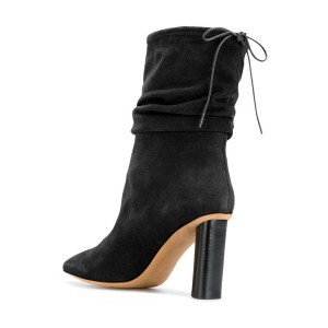Black Slouch Boots Pointy Toe Suede Chunky Heel Mid-calf Boots