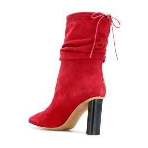 Red Slouch Boots Suede Pointy Toe Block Heel Mid-calf Boots