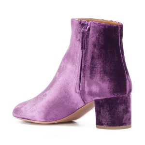 Purple Velvet Short Boots Round Toe Chunky Heel Fashion Ankle Boots