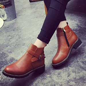 Tan Boots Round Toe Vintage Short Boots US Size 3-15