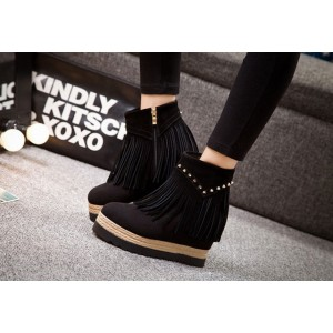 Black Fashion Boots Suede Fringe Platform Shoes for Women